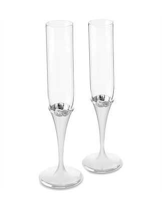 Vera Wang Wedgwood Infinity Silver Toasting Flute Pair