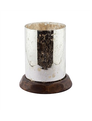 Large Antique Silver Wood Base Candle Holder