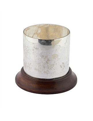 Small Antique Silver Wood Base Candle Holder