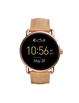 Q Wander Touchscreen Light Brown Leather Smartwatch
