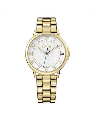 Ladies Gigi Qtz 3 Hand Gold Case Gold Bracelet