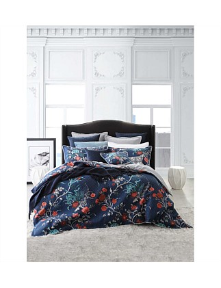 SPANISH FLORAL QUILTED QUEEN QUILT COVER SET