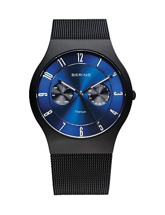 Gents Titanium, Multi Fucntion, Blue Dial ,Black Mesh