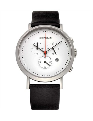 Gents Steel Chrono,White Dial, Black Leather