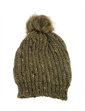 Beanie W Faux Fur Pom Pom Lurex Thread 293e328699d