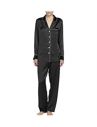 Silk Pj With Contrast Piping