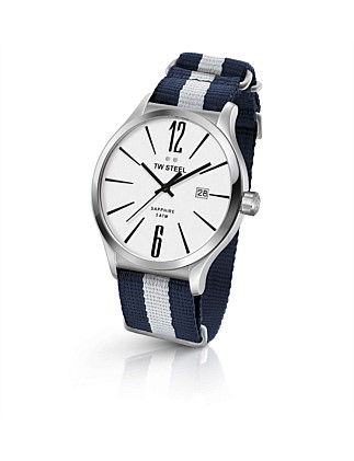 Slim Line, 45mm, 3 Hands, Steel, Navy/White Nato