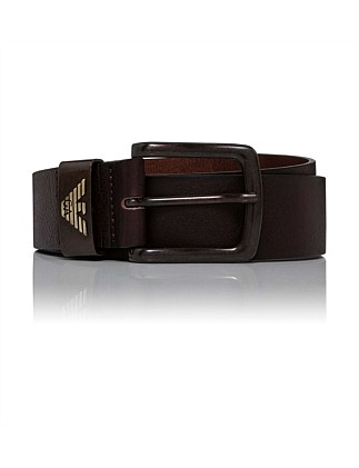 Smooth leather jeans belt w/ logo keeper