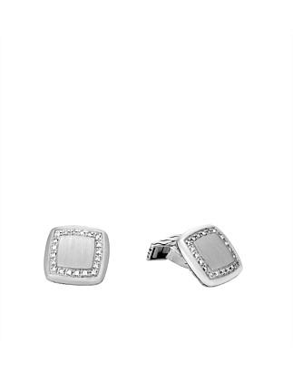 Classic Chain Cufflinks in Silver with Diamaonds