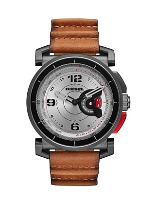 Sam Tan And Gunmetal Leather Hybrid Smartwatch