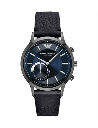 Renato Black Leather Hybrid Smartwatch