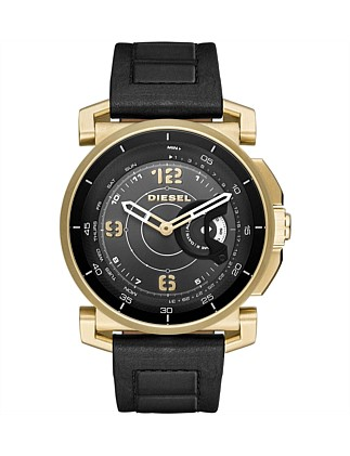 Sam Black And Gold Leather Hybrid Smartwatch