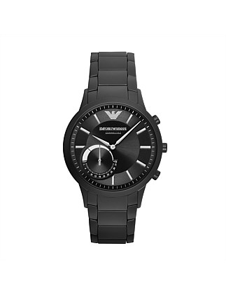 Renato Black Stainless Steel Hybrid Smartwatch