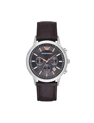 Renato Dark Brown Leather And Stainless Steel Watch