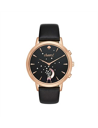 Sam Black And Rose Gold Leather Hybrid Smartwatch