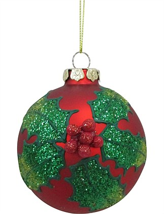 Orn-Bauble Glass Holly Leaves Red