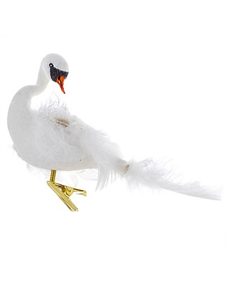 Swan Flocked Feathertail White Ornament