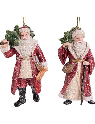 Orn-Assorted Santa W/ Tree Multi