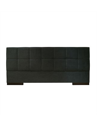 'Orion' Extra Wide Queen Bedhead in Plush Charcoal Fabric