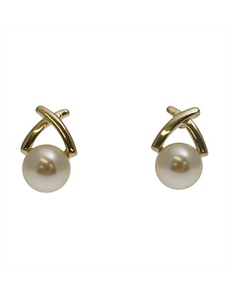 Small Pearl Earring W Metal Cross