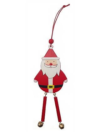 Orn-Wooden Long Leg Santa Red