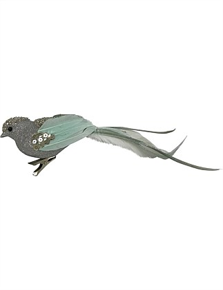 Orn-Bird Glitter Feathertail Silver