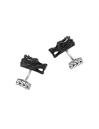 Legends Naga Silver Batu Head Cufflinks