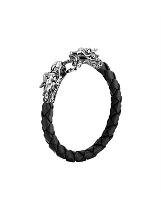 Legends Naga Silver Black Woven Leather Dragon Bracelet