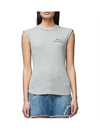 Muscle Shirt Tee With Embroidery