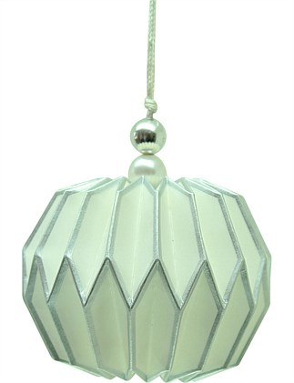 Orn-Bauble Paper Ribbed White/Silver
