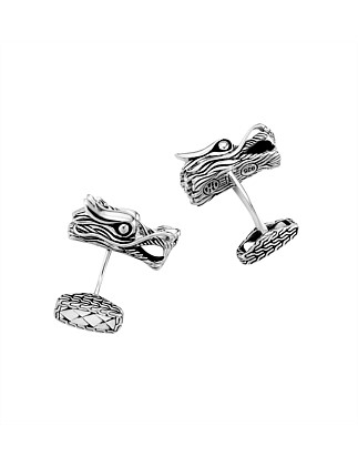 Legends Naga Silver Dragon Head Cufflinks
