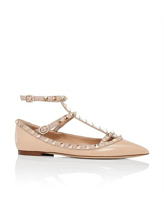 Rockstud Patent Cage Ballet Flat