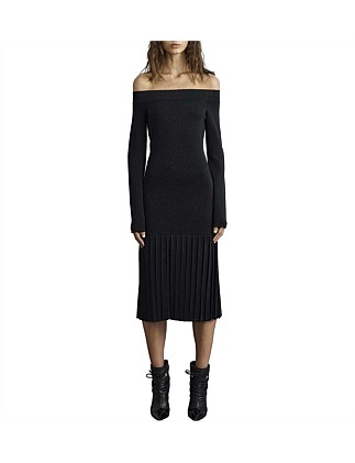 Maléna Knit Pleat Midi Dress