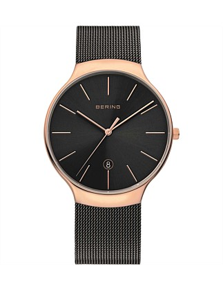 Gents Rose Gold Case, Black Mesh Band