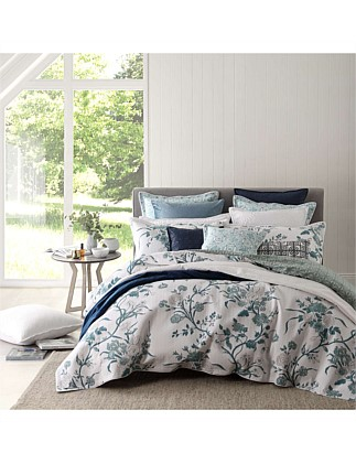 CARNATION JADE QUILTED QUILT COVER SET - QUEEN