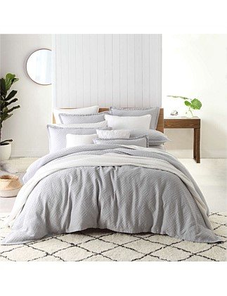 FITZROY SILVER QUILT COVER SET - QUEEN