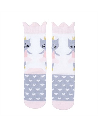 Ballet Cat Ankle Sock With Crown