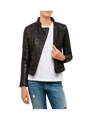 Floral Embossed Leather Jacket