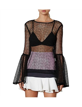 Lace Outline Circle Sleeve Top
