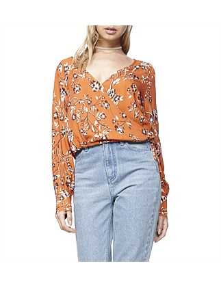 Rust Roses Wrap Top