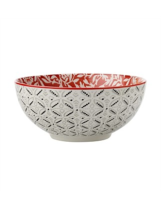 Boho Bowl Damask Red 18cm