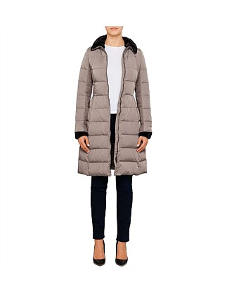 Long Quilted Coat With Contrast Collar