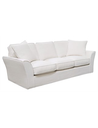 'Maison' 3 Seater Sofa - Linara White Beige Fabric