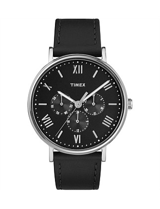Southview 41mm Silver/Black Leather Watch