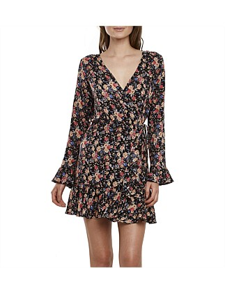 Bell Cuffed Mini Wrap Dress