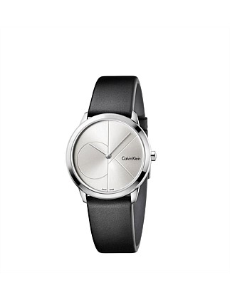 Minimal Black Leather Strap, Silver Dial