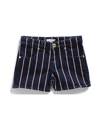Girls Striped Denim Shorts (6-10Y)