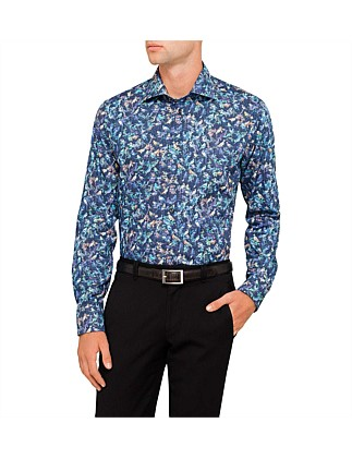 Bird Tapestry Print Slim Fit Shirt