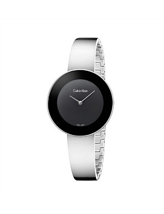 Calvin Klein White Satin Strap Watch - Black