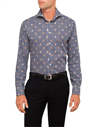 Bulldog Print Check Slim Fit Shirt